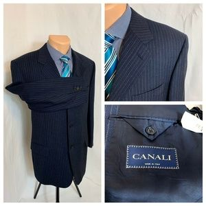 $2950 Canali Navy Blue Pinstripe Suit Jacket 42R